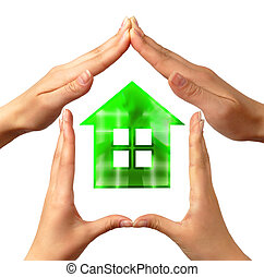 Conceptual home symbol made by hands
