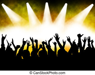 hands at the concert, silhouettes against stage lighting