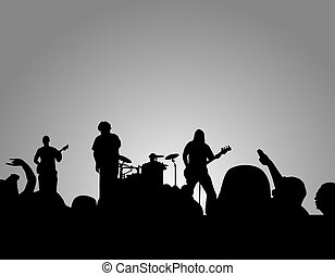 Rock concert silhouette with band and crowd.