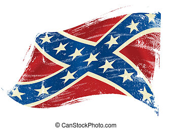 A confederate flag in the wind with a texture