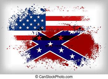 Confederate flag vs. Union flag. Civil war concept