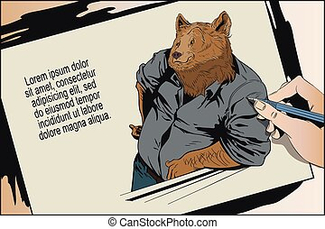 Confident cool man. Bear in shirt. People in images of animals.