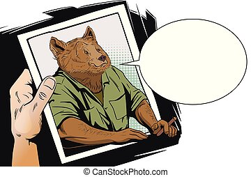 Confident cool man. Bear with a cigar. People in images of animals.