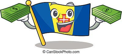 Confident smiley flag madeira character with money bag