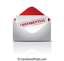 confidential mail illustration design over s white background