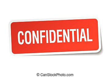 confidential red square sticker isolated on white