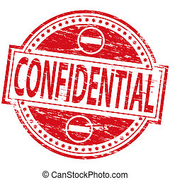 "Rubber stamp illustration showing ""CONFIDENTIAL"" text"