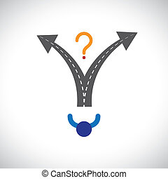 Confused person career choice decision making difficulty graphic. The illustration also represents decision making problems when many options are present in people's career, life, etc
