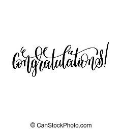congratulations - black and white hand lettering inscription