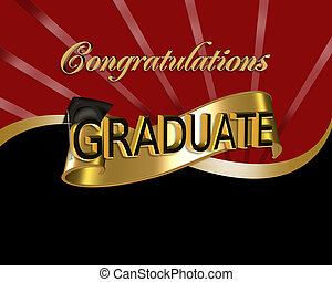 red and black digital art with 3D gold text Congratulations Graduate for graduation greeting card or background with cap and scroll