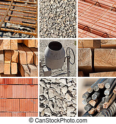 Basic construction materials collage with concrete mixer in center