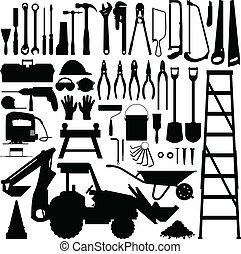 A big set of construction tool industry in silhouette vector.