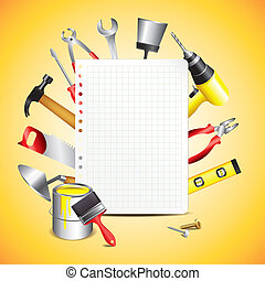 Construction tools with blank sheet of paper vector background