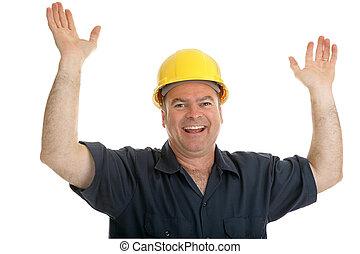 Construction Worker Overjoyed