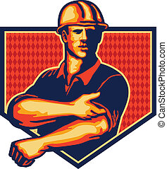 Illustration of a construction worker wearing hardhat rolling up sleeve facing front set inside shiled done in retro style
