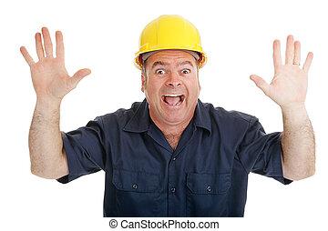Construction Worker Terrified