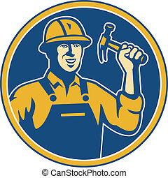 Illustration of a construction worker tradesman laborer weilding a hammer set inside circle done in retro style.