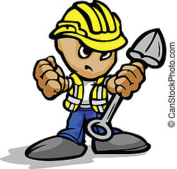 Construction Worker with Determined Face and Shovel and Hardhat Cartoon Vector Image