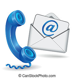 vector illustration of contact with phone and mail icon