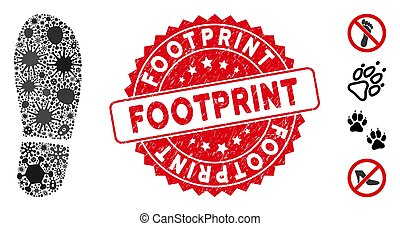 Contagious Collage Boot Footprint Icon with Textured Round Footprint Seal