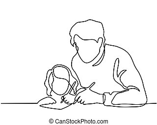 Father And Small Daughter Writing Letter To Santa