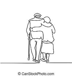 Happy elderly couple hugging and walking