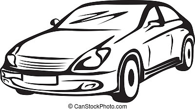 Black-and-white contour image of the car