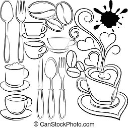 contours of cups and spoons