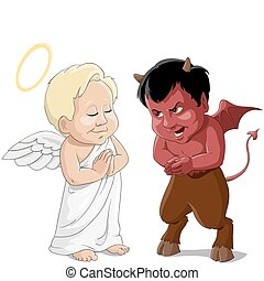 Babies an angel and a devil