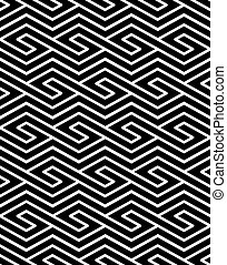 Contrast geometric seamless pattern with symmetric ornament. Rhombus graphic contemporary background. Splice black and white infinite backdrop.