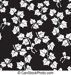 Seamless black and white pattern with leaves of ivy and funny bows. Vector is eps8. Drop into your illustrator swatches and use as fill.