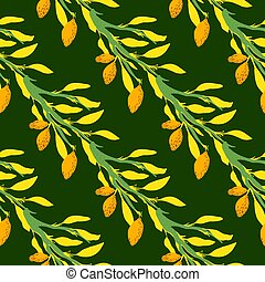 Contrast seamless doodle pattern with bright yellow lemon branches silhouettes. Dark green background.