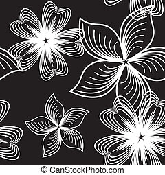 Seamless black and white floral pattern with optic effect. Vector is eps8. Drop into your illustrator swatches and use as fill