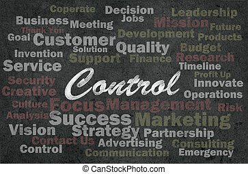 Control concept with business related words on retro background