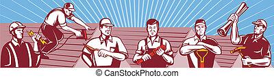 Illustration of home improvement professionals showing an electrician, roofer ,construction worker roofing ,tiler, plasterer, masonry worker, plumber, gardener, landscaper and builder carpenter done in retro style.