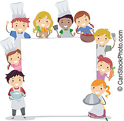 Illustration of Kids Holding Cooking Utensils Surrounding a Blank Board