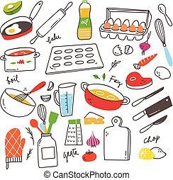Cooking doodles design element