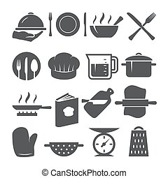Cooking icons set on white background