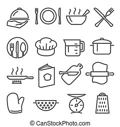 Cooking line icons set on white background
