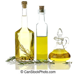 Assortment Of Cooking Oil In Glass Bottles