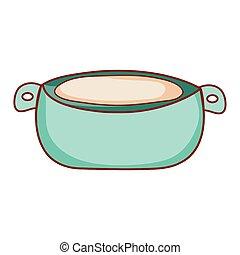 cooking pot kitchen utensil cartoon isolated icon