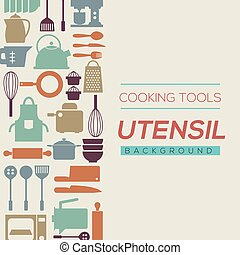 Cooking Tools And Utensil Background Vector Illustration