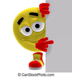3D rendering of a cool and funny yellow emoticon saying look here with clipping path and shadow over white