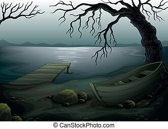 Illustration of a cool creepy forest
