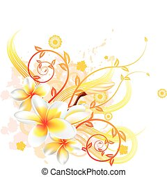 A very stylish vector floral background illustration with Plumeria Frangipani flowers.