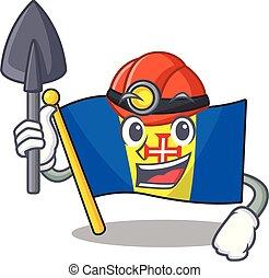 Cool Miner flag madeira of cartoon mascot style