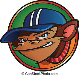 Cool monkey with cap inside a circle.