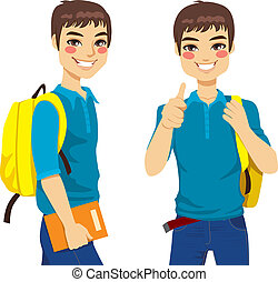 Cool teenage student making thumbs up hand sign ready to go back to school