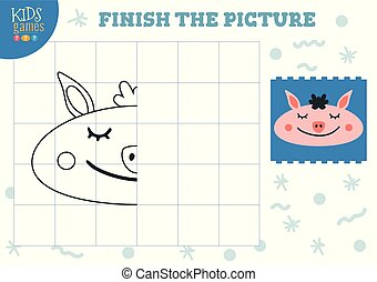 Copy and complete the picture vector blank game, illustration. Preschool kids activity or homework for learning and development