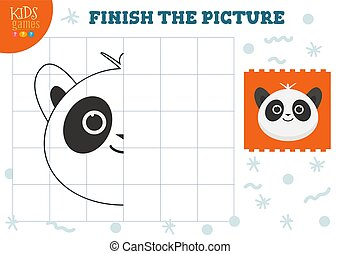 Copy picture vector illustration. Complete and coloring game for preschool kids. Cartoon panda for educational drawing activity